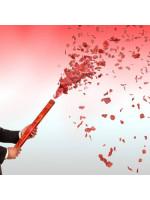 Κανονάκι κομφετί χειρός που εκτοξεύει κόκκινες μεταλλικές καρδιές  Andrikakis Fireworks